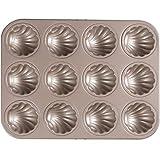 NQ-ChongTian Stampo per Torte teglia Multifunzione 12 Anche Oro Antiaderente Madeleine Stampo Guscio Giapponese Torta teglia da Forno per Uso Domestico Stampo da Forno