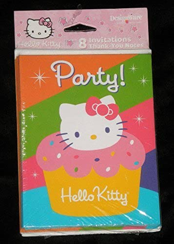 saludable Hello Kitty Kitty Kitty 'Cupcake' Invitations w  Envelopes and Thank You Postcards (8ct) by Hello Kitty  solo cómpralo