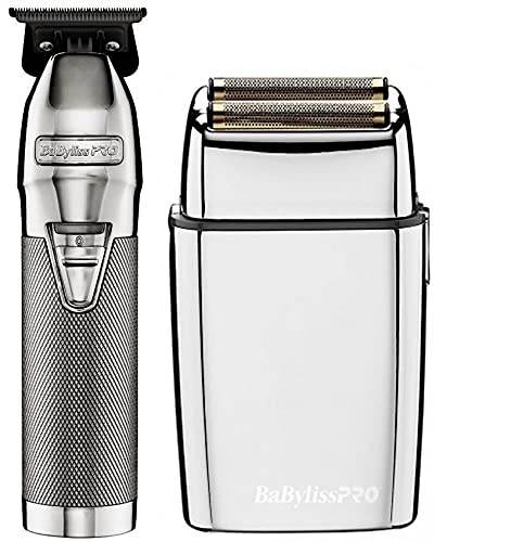 BaByliss Pro Silver FX Collection Outliner & Double Foil Shaver Combo FXHOLPK2S