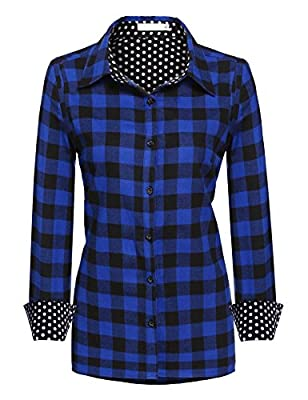 Zeagoo Women Casual Long Sleeve Flannel Blouse Plaid Button Down Collared Shirt