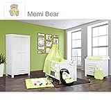 Babyzimmer Enni in weiss 10 tlg. mit 2 türigem Kl. + Textilien von Memi Bear Grün