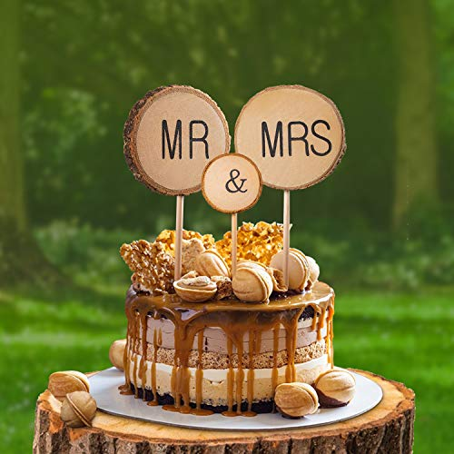 3 Pcs Premium Wedding Cake Toppers, Mr and Mrs Cake Topper, Rustic Wedding Decoration, Wedding Cake Topper with Bark for Wedding Anniversary Birthday Couple Sweetheart Party