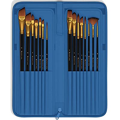 Artistic Vista - Paint Brushes | Complete 15 Piece set. Perfect for Acrylic, Watercolor, Gouache, Oil, & Face painting.