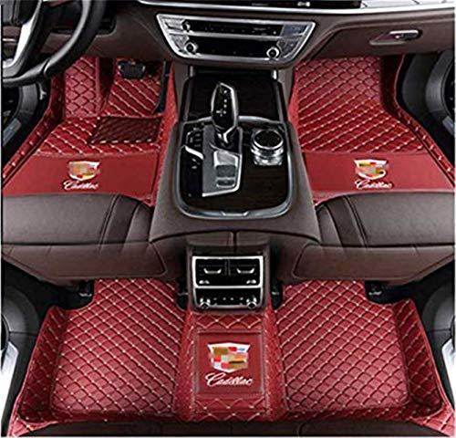 Fmingquhap Fit for Cadillac XT4 XT5 XT6 CT6 XTS ATS CTS SRX All Weather Car-Styling Custom Luxury Leather Waterproof Floor Mats Logo (Wine red, Cadillac CTS (4 Door Sedan) 2014-2019)