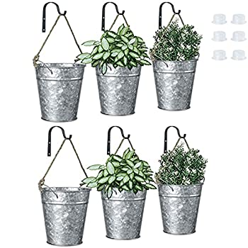 JIAYUAN Galvanized Metal Wall Planter Outdoor Farmhouse Decor Hanging Planters with Hole Indoor Rustic Buckets Flower Vase Succulent Herbs Pots Set of 6
