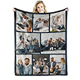 Youltar Custom Blanket with Words Picture Collage Customized Blankets, Birthday Souvenir Gifts Personalized Throw Blanket for Father, Mom, Kids, Dogs, Friends or Lover 40'×50'