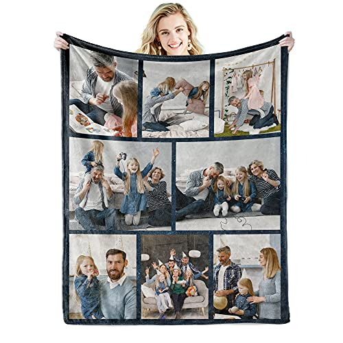 Youltar Custom Blanket with Words Picture Collage Customized Blankets,...