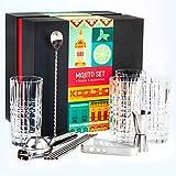 Kit Bicchieri Mojito Vetro Set, Kit Mojito Cocktail Professionale Bicchiere Grande 4 Pezzi...