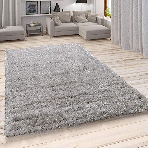 Paco Home Hochflor Teppich, Weicher Moderner Wohnzimmer Shaggy in Flokati Optik, Einfarbig, Grösse:120x160 cm, Farbe:Grau