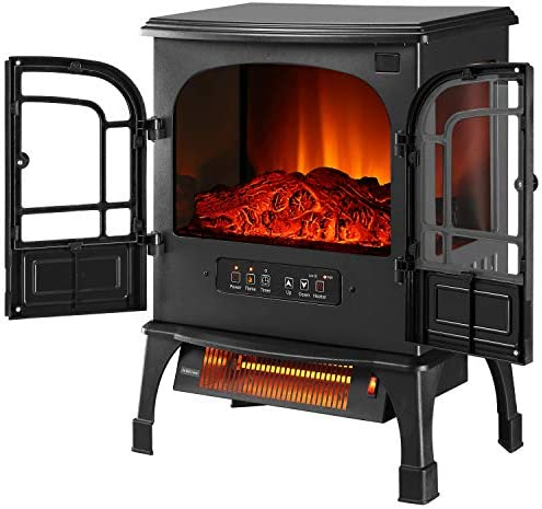 Outdoor Basic Infrared Quartz Electric Fireplace Stove with Realistic Flame 12h Timer Portable product image