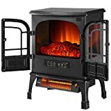 Outdoor Basic Infrared Quartz Electric Fireplace Stove with Realistic Flame 12h Timer Portable Space Heater with Thermostat Overheating Protection
