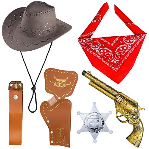 Beelittle Accessori Costume da Cowboy Cappello da Cowboy Bandana Pistole Giocattolo con fondine da Cintura Set da Cowboy per Halloween Party Dress Up (B)