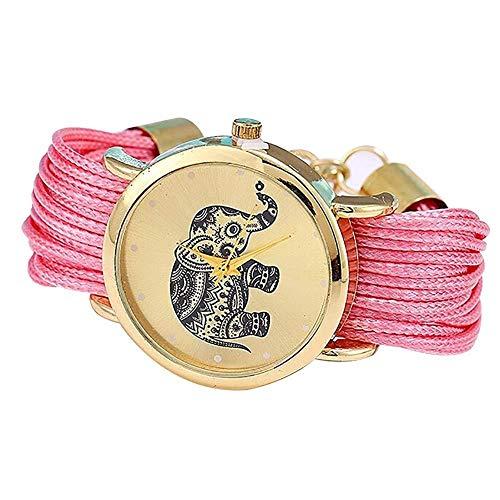 Dorime Patrón Elefante Tejida Cuerda Pulsera de Cuarzo Dial Reloj de Pulsera Rosa