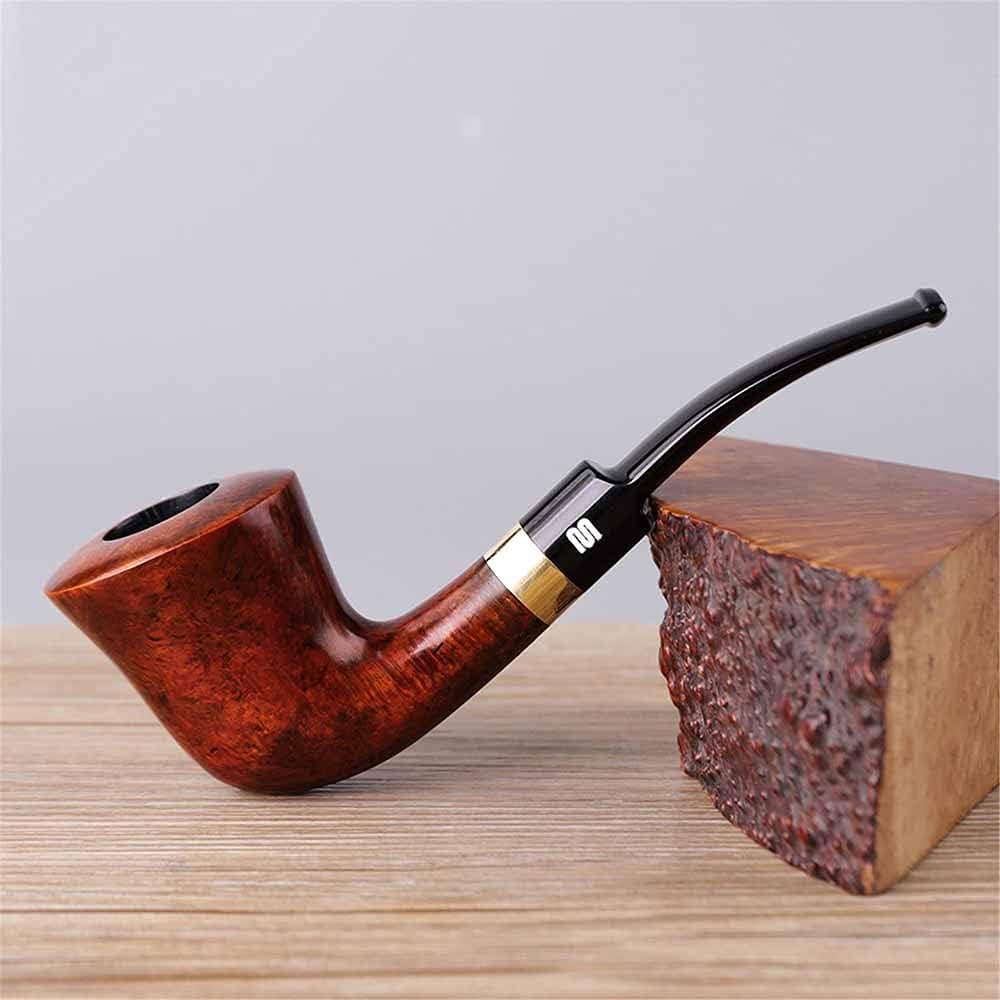 SSOLEREIT Pipa para Hombre Pipa de Madera Maciza Pipa de cigarro Desmontable Tallada a Mano Vintage Apto para Todos los días para Todos los Fumadores como Regalo para el Padre