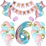 Amycute 6er Cumpleaños Globos, Feliz cumpleaños Decoración Globos 6 Años en Rosado, Número 6 Globos Digitales Gigante del papel de aluminio, Globos de Confeti de Latex para Fiestas Niñas