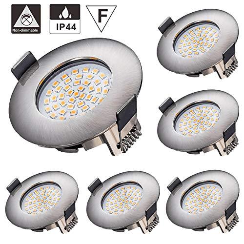 LED Einbaustrahler, Azhien 5W LED Deckenstrahler Warmweiß 2700K 400LM 230V Offenes Lochgröße 68mm Ultra Slim Nicht Dimmbar, IP44-Runde Nickel Deckenspot für Küchenbadezimmer(6er-Pack)