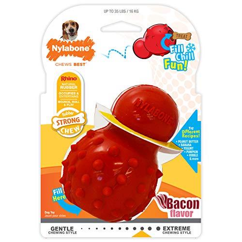 Nylabone Juguete masticable para Rellenar Fabricado en Goma Natural, Sabor a beicon Apto para Perros Medio (hasta 16 kg), M, Red 1 Unidad 250 g