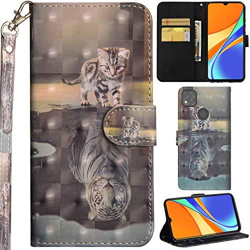 C/N DodoBuy Hülle für Xiaomi Redmi 9C, 3D Flip PU Leder Schutzhülle Handy Tasche Wallet Hülle Cover Ständer mit Trageschlaufe Magnetverschluss - Katze Tiger