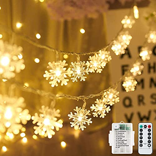 Weihnachten Lichterkette Batterie Schneeflocke 7M 60LED Lichterketten mit Fernbedienung 8 Modi Wasserdicht Außen Innen Lichterketten für Zimmer Party Balkon DIY Deko Warmweiß