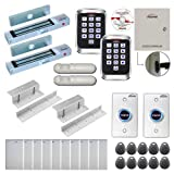 Visionis FPC-8238 Two Doors Access Control Electromagnetic Lock Inswinging Door 300lbs TCP/IP Wiegand Controller Box, Outdoor Metal Anti Vandal Keypad/Reader, Software 10,000 Users, with PIR Kit