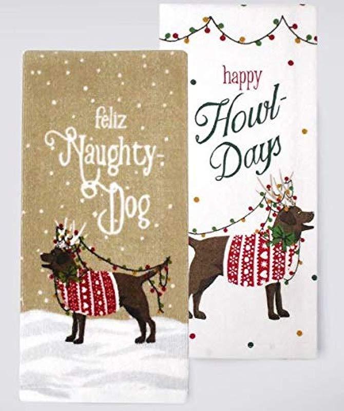 St Nicholas Naughty Dog Holiday Winter Kitchen Towel 2 Pack