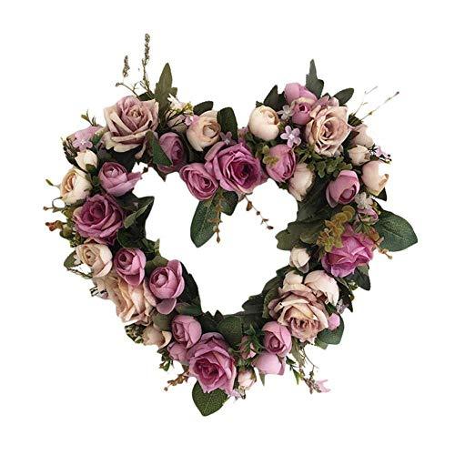 FENGZHO Xmas Gift Klassieke Kunstmatige Rose Bloemen Voordeur Krans Hartvormige Garland Voor Thuis Bruiloft Party Decoratie!