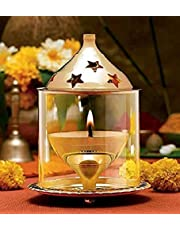 Wacky Brass Glass Akhand Diya Oil puja Lamp 4.8 Inch Medium Size (7.5 X 7.5 X 13 cm)