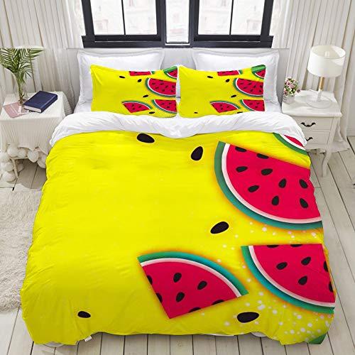 Dodunstyle Duvet Cover,Watermelon Super Summer Yellow,Bedding Set Ultra Comfy Lightweight Microfiber Sets