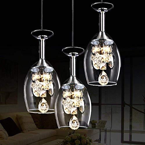 Kristall Weinglas Pendelleuchten, Led Restaurant Hängelampe, Romantische Deckenleuchte Moderne Kreativität Drei Köpfe für E27 [Energieklasse A ++]