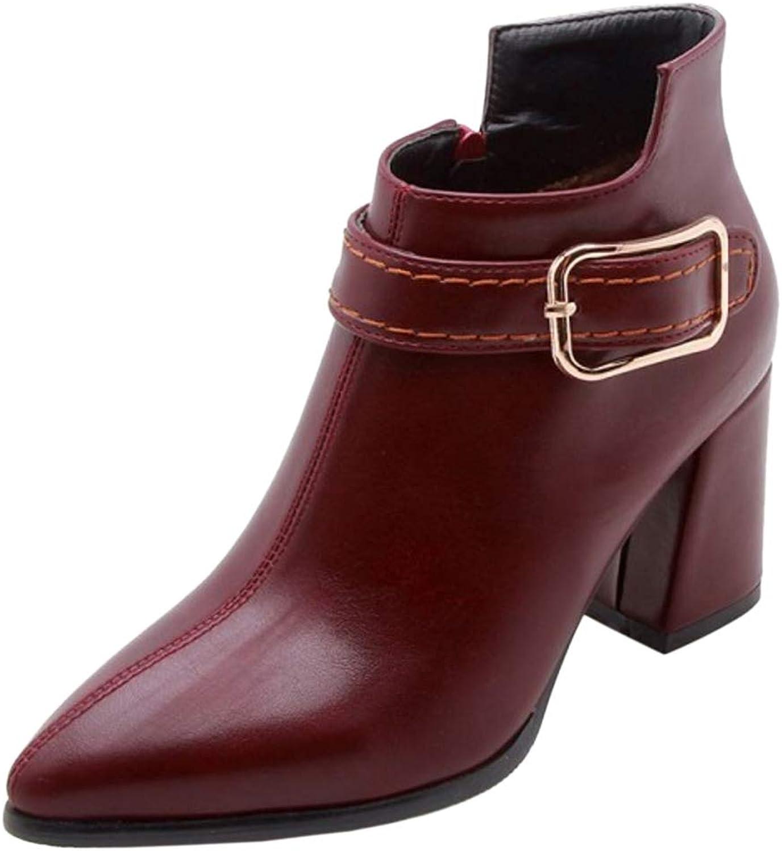 FizaiZifai Women Fashion Block Heel Dress Boots Pointed Toe Claret Size 47 Asian