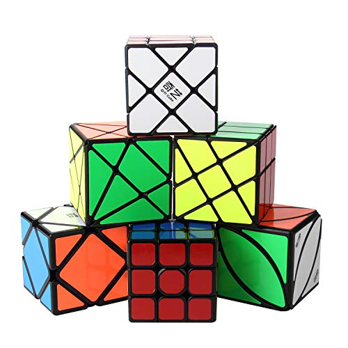 ROXENDA Cubos de Velocidad, [Paquete de 6] Speed Cube Set - Skew Axis Windmill Fisher Ivy 3x3x3 Speed Cube Smooth Magic Cubes Colección de Rompecabezas