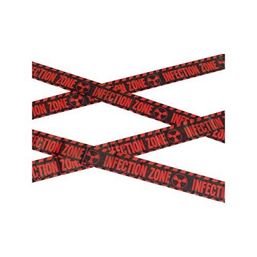 Smiffy's-47021 Cinta Precaución: zona de infección zombi, 6m / 236in, color rojo y negro, No es applicable (47021)