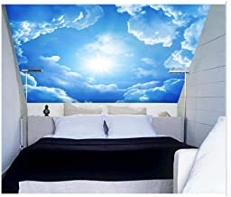 Shuangklei 3D Wall Ceiling Murals Wallpaper with Cloud and Blue Sky for Living Room Bedroom Hall 3D Ceiling Murals 3D Wall Stickers -150X120Cm