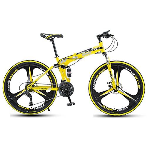 GGXX Mountain Bike Uomo Donna Bicicletta Pieghevole per Adulti Biciclette Portatili Trekking 21/24/27 velocità Doppio Freno A Disco Cambio Preciso A Sospensione Completa 24/26 Pollici