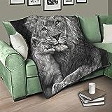Flowerhome Löwe Tiere Steppdecke Tagesdecke Bettdecke Bettüberwurf Sofadecke Couchdecke Schlafdecke Wendedecke für Erwachsene Kinder White 130x150cm