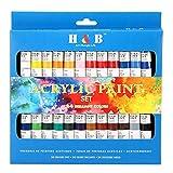 Juego de pintura acrílica de Color Technik, calidad de artista profesional, paleta incluida, 24 tubos de aluminio, los mejores colores para pintar lienzo, madera, arcilla, tela, arte de uñas