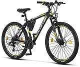 Licorne Bike Effect Premium - Bicicleta de montaña 27,5 pulgadas - para niños, niñas, hombres y mujeres - Cambio Shimano de 21 velocidades - para hombre - Negro/Lime (2 frenos de disco)