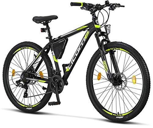 Licorne - Mountain bike Premium per bambini, bambine, uomini e donne, con cambio Shimano a 21 marce, Bambina, nero/lime (2 freni a disco)., 27.5 inches