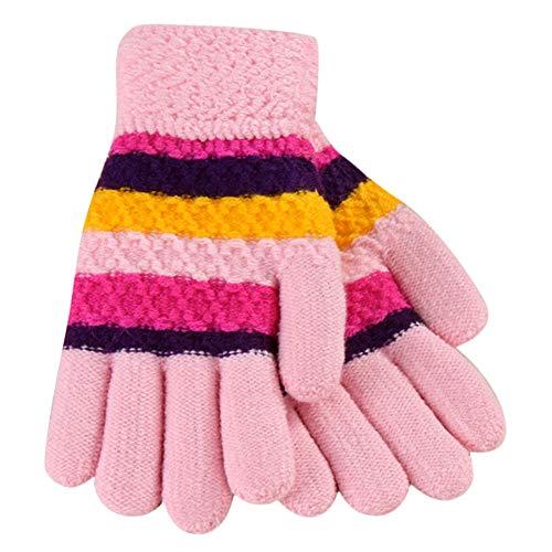 Longra Babyhandschoenen, uniseks, warm, gebreid, handschoenen, babyhandschoenen, dik, voor meisjes, jongens, gestreept, vinger-handschoenen, gebreid, voor de winter, chique, babyhandschoenen, warme handschoenen