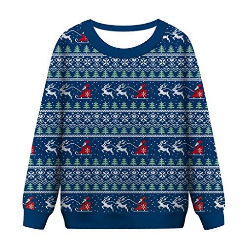 FELZ Sudaderas Mujer sin Capucha Navidad Christmas Women Funny Print Sweatshirt Cuello Redondo Blusa para Mujer del Blusa de Mujer del Jersey de Manga Larga con Navideñas Estampadas Suéter Abrigo