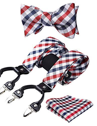 HISDERN Hosenträger für Herren Einstellbar und Elastisch Y Style fliege Taschentuch Set
