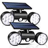 Solar Lights Outdoor, UNIFUN 30 LED Waterproof Solar Powered Wall Lights with Dual Head Spotlights 360-Degree Rotatable Solar Motion Security Night Lights for Outdoor Pation Yard Garden (Pack 2)