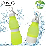 ZC GEL Collapsible Water Bottle (2 Pack), BPA Free Food-Grade FDA Approved Leak Proof Foldable Portable Lightweight Features for Outdoor & Indoor,Sports,Travel Water Bottle(24oz+14oz) Yellow