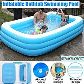 "sogn-10001 1 Large & Spacious: 95"" inflatable family lounge pools with 162 gal water capacity fits a family with 2 adults and 4 kids to enjoy a splashing pool party in summer Strong & Sturdy: Comes with 3 individual air chamber, the inflatable kiddie pools can withstand extra weight while preventing air leakage Durable & Wear-resistant: Made with 0. 4mm thickness PVC material, the inflatable swimming pool is twice thicker than most in the market; extra repair patch included in the package help prolong lifespan"