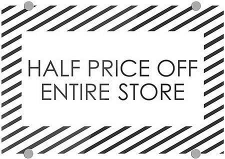 Half Price Off Entire Store Stripes White Premium Acrylic Sign 27x18 CGSignLab
