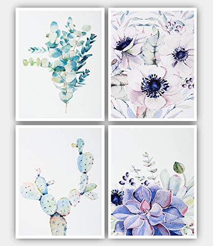 4 Pcs Unframed Cactus Flower Art Prints, Nature Watercolor Botanical Succulent Paintings Canvas Wall Art, 8x10 inches