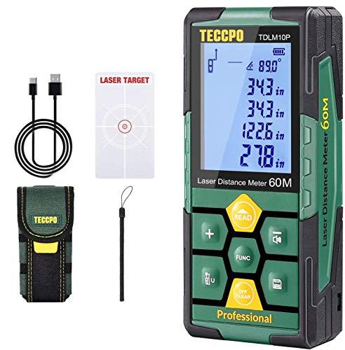 Laser Measure Rechargeable, TECCPO Laser Distance Meter Pro 196ft, 99 Sets Data Storage, Electronic Angle Sensor, 2.25' LCD Backlit, Mute Function, Measure Distance, Area, Volume, Pythagoras - TDLM10P