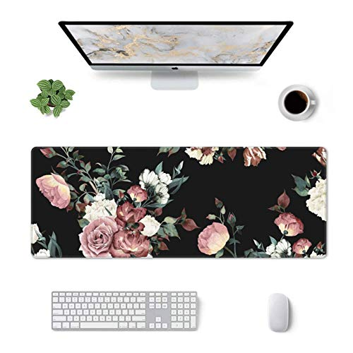 Flower Floral Mouse Pad Gaming Extended Large Waterproof Desk Mat with Non-Slip Base and Stitched Edge for Home Office 31.5x11.8 inch