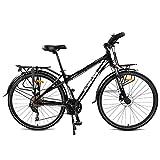 Bicicleta de carreras CCVL para adultos y niños, práctica bicicleta de ocio ultraligera, adecuada para el trabajo en la ciudad., negro y blanco