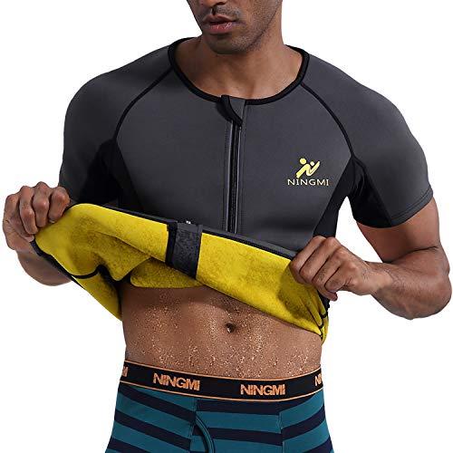 NINGMI Herren Sauna Shirt Abnehmen Weste Schwitzanzug Körperformer Sauna Workout Shirt für Gewichtsverlust